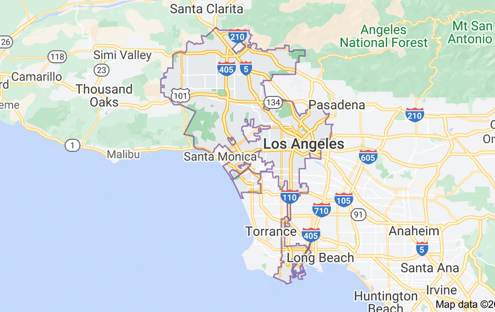 Map of Los Angeles Alcoholics Anonyous